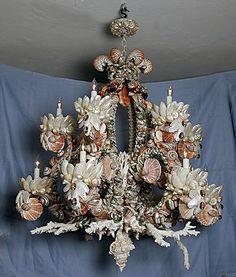 Seashell chandelier.