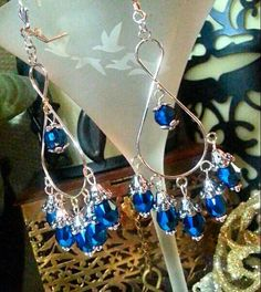 SALE Lavish Deep Sapphire Cobalt Blue Teardrop Charms on Large Silver Infinity Chandelier Earrings w/Metallic Accents FREE SHIPPING - Only $6.95 on Etsy! https://www.etsy.com/listing/234443910/sale-lavish-deep-sapphire-cobalt-blue