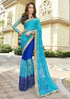 IVimal Blue Colored Embroidered Georgette Net Festive Saree - 97058