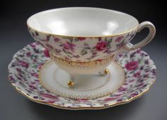 Yada China Made in Japan Vintage Three Footed Tea Cup and Saucer Gold Accent #YadaChinaMadeinJapan
