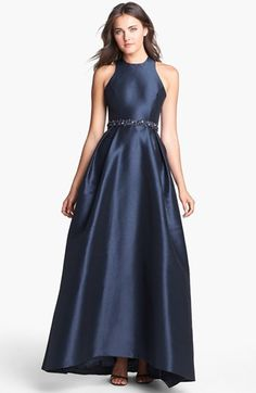ML Monique Lhuillier Cross Strap Faille Ballgown available at #Nordstrom