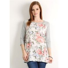 Kaleidoscope Modest Wear Floral Baseball Tee ($32) ❤ liked on Polyvore featuring tops, t-shirts, multi colored, baseball tshirt, colorful t shirts, baseball t shirt, floral graphic tees and floral tops