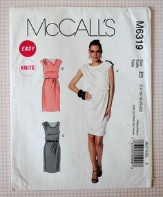 Uncut Misses Easy Knit Fitted Tapered Lined Bodice Elastic Waist Short Cap Sleeve Dress Size 14 16 18 20 22 Sewing Pattern McCalls M6319