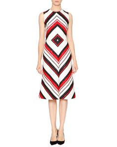 Sleeveless Geometric-Print Dress, Red/White/Black by Dolce & Gabbana at Neiman Marcus.