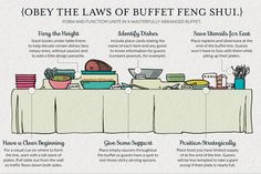 Obey the Laws of Buffet Feng Shui. Buffet rules - keep things moving and looking nice at your graduation party