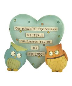 Look at this 'Our Memories Say' Owls Heart Figurine on #zulily today!