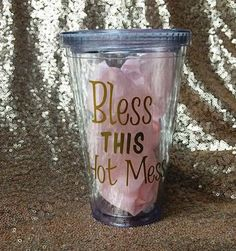 Bless This Hot Mess 16oz Tumbler by MonogramQueens15 on Etsy