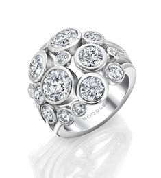 <p>An impressive, contemporary diamond ring from Boodles' Raindance collection</p> <ul> <li>2 main diamonds certificated 0.90ct and 0.70ct</li> <li>Set with a further 2.38ct of round-brilliant cut diamonds</li> </ul> <p>In platinum.</p>