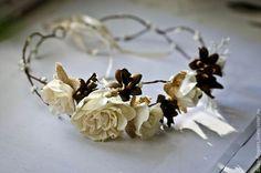 Цветочный ободок в стиле Бохо - бежевый,бохо,бохо-стиль,бохо стиль,бохо украшения. Ручная работа, создано мною.