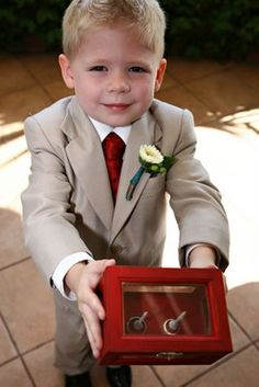 A ring bearer box instead of a pillow - great idea!