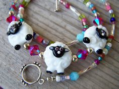 Whimsical Lampwork Sheep Swarovski Glass Necklace by gristmilldesigns, $18.95