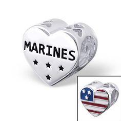 Sterling Silver USA Marines Flag Heart Bracelet Charm Bead