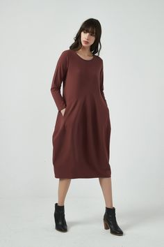 TIRELLI LONG SLEEVE DIAGONAL SEAM DRESS BRICK Cool Shapes, Classic Chic, Mid Length Dresses, Brick, High Neck Dress, Long Sleeve, Skirts, Cotton, Design
