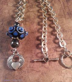 Blue Jean Baby - Lampwork Glass Bead Necklace by ASplashOGlass on Etsy
