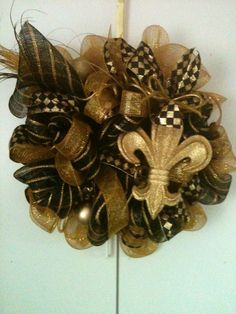 Black and Gold Saints Deco Mesh Wreath with Large by thewreaths Wreath Crafts, Ornament Wreath, Wreath Ideas, Diy Crafts, Saints Wreath, Mesh Garland, Garlands, Diy Fleur, Sports Wreaths