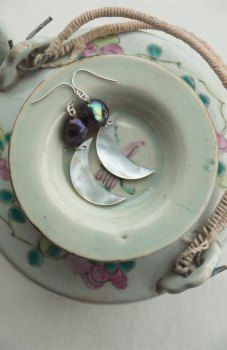 Black pearl half moon earrings: metaphysical jewelry from Pillow Book Design