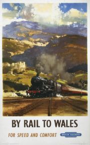 Travel Poster produced for British Railways BR Western Region to promote rail travel to Wales The poster shows a steam locomotive travelling through Posters Uk, Train Posters, Railway Posters, Cool Posters, Poster Prints, Art Prints, Orient Express Train, Travel Ads, Train Travel