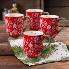 The Pioneer Woman Holiday Daisy 15.5 oz Latte Mug, Set of 4 - Walmart.com