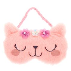 Catch up on much needed sleep without being bothered by anyone when you have this sleeping mask over your eyes! This pretty pink furry sleeping mask features a kitty face with flowers on her head Cat Ears Headband, Ear Headbands, Baby Girl Toys, Toys For Girls, Cute Sleep Mask, Baby Doll Accessories, Kawaii, Motif Floral, Halloween Masks