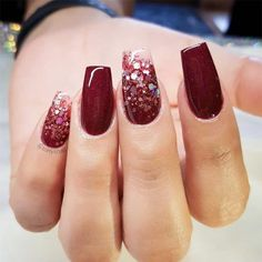 39 Trendy Fall Nails Art Designs Ideas To Look Autumnal and Charming - autumn nail art ideas fall nail art fall art designs autumn nail colors autumn nail ideas dark nail designs coffin nails Glitter Nails, Fun Nails, Pretty Nails, Dark Nails With Glitter, Graduation Nails, Fall Nail Art Designs, Gel Designs, Burgundy Nails, Autumn Nails
