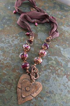 Valentine Heart Pendant Berry Fuchsia Antiqued by lunedesigns