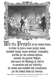 Preamble to the Constitution of the United States of America Constitution Bill Of Rights, United States Constitution, Constitution Day, Constitutional Rights, Us History, History Facts, American History, Independance Day, Declaration Of Independence