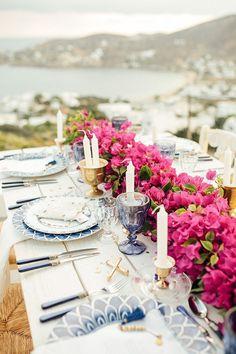 7 Mediterranean Wedding Tablescapes to Inspire You Party Decoration, Wedding Decorations, Table Decorations, Wedding Centerpieces, Santorini Wedding, Greece Wedding, Bougainvillea Wedding, Wedding Flowers, Mamma Mia Wedding
