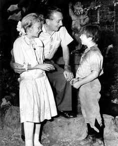 """Walt, with Haley Mills & Kevin """"Moochie"""" Corcoran on the set of Pollyanna - this is precious."""