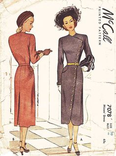 Hey, I found this really awesome Etsy listing at https://www.etsy.com/listing/238756887/vintage-1940s-dress-sewing-pattern
