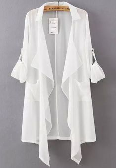 All The New Buy white lapel asymmetrical loose chiffon blouse from abad . Stylish Dress Designs, Stylish Dresses, Casual Dresses, Chiffon Cardigan, Chiffon Dress, Chiffon Blouses, Summer Fashion Outfits, Fashion Dresses, Fashion Clothes