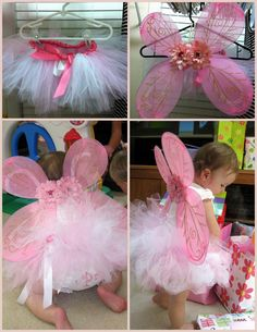 Butterfly Outfit for girl's First Birthday - everything cost less than 8 dollars. I made the tutu from scratch by tying tulle onto gossamer ribbon and trimming it with satin ribbon. The wings came from Dollar Tree and I added flowers to it that I already had. My baby girl looked adorable as a little butterfly!