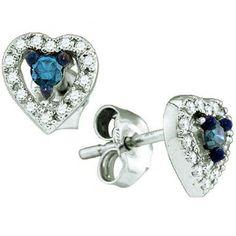 Thanks for Sharing!  0.21 Carat (ctw) 10k White Gold Blue & White Diamond Ladies Heart Shape Stud Eaarrings - Dazzling Rock #https://www.pinterest.com/dazzlingrock/