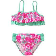 OP Baby Toddler Girl Fashion Tropical Wildflower Bikini Swimsuit