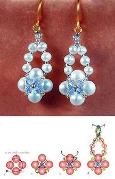 Perlenohrringe - Proyectos a probar - - Bead Jewellery, Jewelry Making Beads, Bead Earrings, Jade Jewelry, Diy Earrings Patterns, Beaded Jewelry Patterns, Bracelet Crafts, Beaded Bracelets, Bijoux Diy