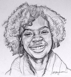 """African American Art, Girl """"Curly Haired"""", Original Drawing Pencil and Ink, Gwen Meyerson. $49.00"""