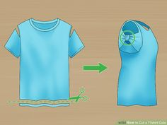 How to Cut a T‐shirt Cute. Looking for a way to give new life to an old t-shirt? Create a cute new design with a t-shirt you don& wear as much anymore with just a few simple cuts with scissors. You can create a huge variety of cutout d. Ways To Cut Shirts, Diy Cut Shirts, Diy Shirt, Cutting Tee Shirts, Diy Tank, How To Refashion A Tshirt, Shirt Makeover, Zerschnittene Shirts, Sewing Shirts