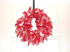 Red and White Fabric Christmas Wreath Photography by cbtdesign