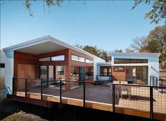 We like to keep a pulse on the evolving world of green prefab, but there's an Austin-based company that we've yet to mention. Ma Modular, a venture of design-build firm KRDB, turned to modular construction to make modern design Metal Shop Building, Steel Building Homes, Green Building, Building A House, Building Design, Building Ideas, Prefab Buildings, Prefabricated Houses, Metal Buildings