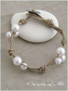 DIY pearl and twine bracelets.