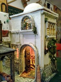 Discover recipes, home ideas, style inspiration and other ideas to try. Christmas Nativity Scene, Christmas Villages, Landscape Model, Medieval Houses, Arched Doors, Ceramic Houses, Miniature Houses, Fairy Houses, Small World