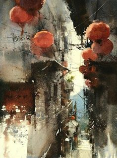 Loose watercolor painting by Chien Chung Wei - narrow street painting Japanese Watercolor, Watercolor Sketch, Watercolor Artists, Watercolor Portraits, Watercolor Paintings, Watercolours, Watercolor Architecture, Watercolor Landscape, Landscape Paintings