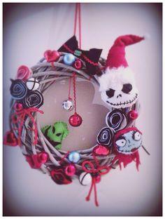 Handmade Felt Wreath. Nightmare Before Christmas Inspired