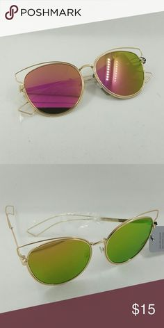High quality wire cat style sunglasses High quality wire cat style sunglasses gold frame pink green lens  J1045 Accessories Sunglasses