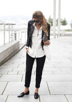 white button down shirt, black rolled up jeans black leather jacket and black loafers