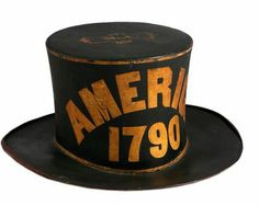 Paint Decorated Leather Parade HatPossibly PennsylvaniaCirca 1790With scrolled brim, in black paint, the top bears initials M.A., the sides ...