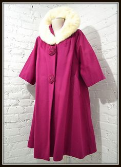 1950s/60s Lilli Ann Magenta Wool Swing Coat With Mink Collar ~ OMG!