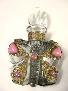 Czech Jeweled Butterfly Perfume Bottle