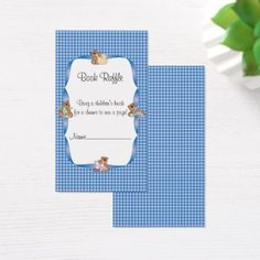 Blue Plaid with Baby Bears Theme Book Raffle Business Card - baby gifts child new born gift idea diy cyo special unique design
