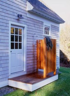 add an outdoor shower. traditional exterior by John Cole Architect Outdoor Spaces, Outdoor Living, Outdoor Decor, Outdoor Bars, Outside Showers, Outdoor Showers, Exterior Tradicional, Garden Shower, Outdoor Bathrooms