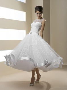 Cheap 2016 Tea Length Wedding Dresses Beaded Sash Vintage Lace Ball Bridal Gowns…